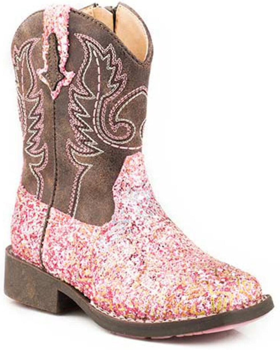 Roper Girls' Glitter Aztec Western Boots - Square Toe, Pink, hi-res