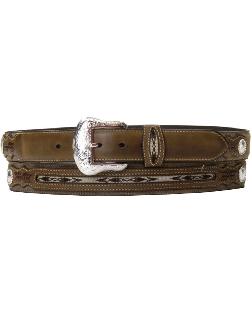 Nocona Men's Rough-Out and Overlay Western Belt, Brown, hi-res