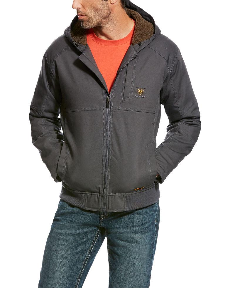 Ariat Men's Grey Rebar DuraCanvas Hooded Jacket - Tall, Light Grey, hi-res