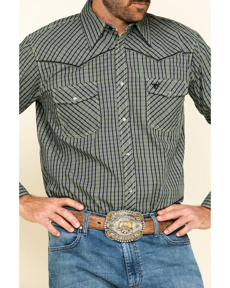 Cowboy Hardware Men's Green Rake Plaid Long Sleeve Western Shirt , Green, hi-res