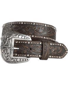 Ariat Tooled & Studded Leather Belt, Brown, hi-res