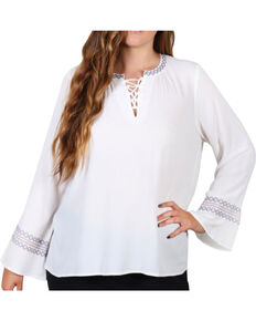 Democracy Women's Lace-Up Front Plus Tunic, Ivory, hi-res