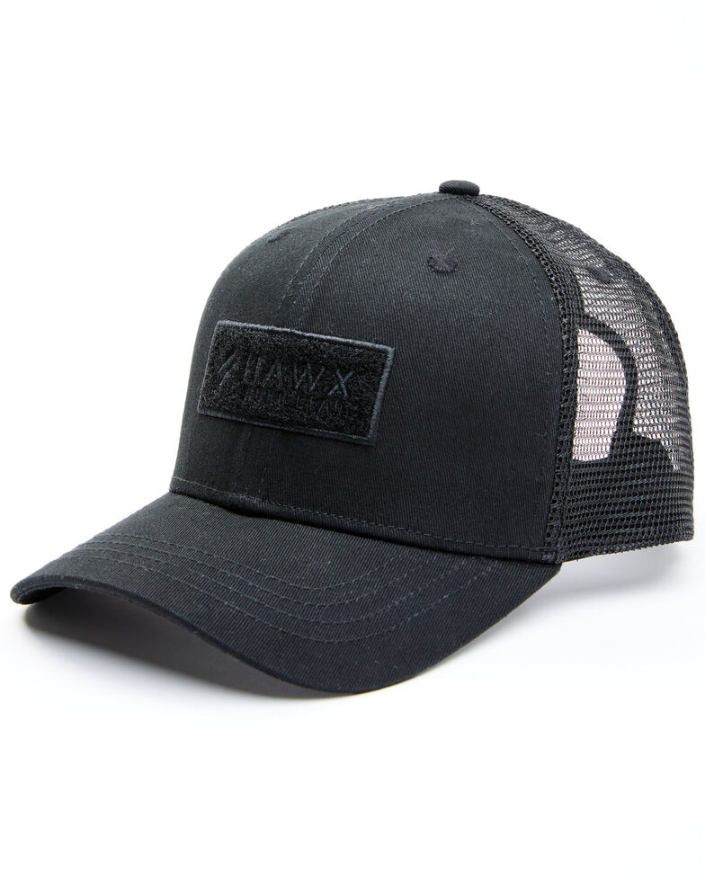 Hawx Men's Black Chenille Logo Patch Mesh Ball Cap, Black, hi-res