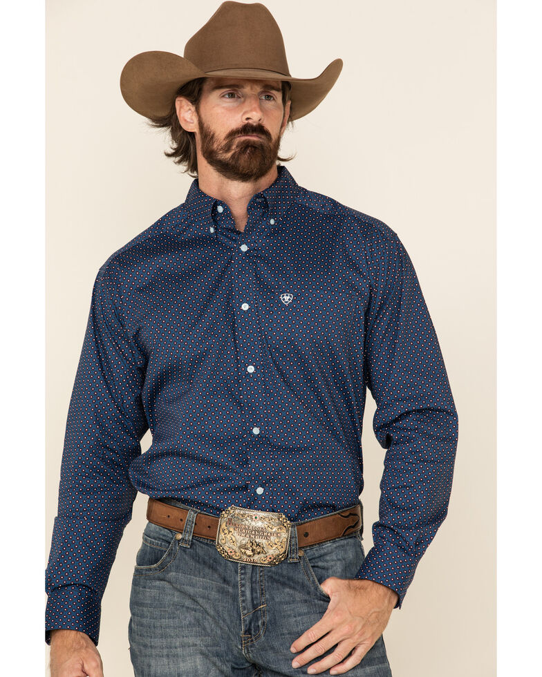 Ariat Men's Ragan Stretch Geo Print Long Sleeve Western Shirt - Big & Tall, Navy, hi-res