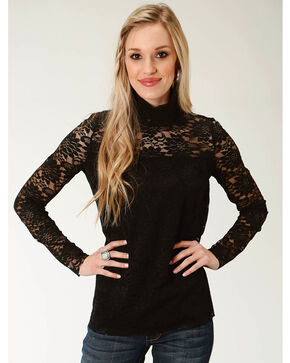 Roper Women's Black Lace Mock Neck Top, Black, hi-res