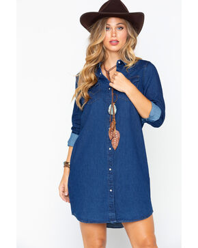 Wrangler Women's Modern Born Ready Western Snap Denim Dress, Dark Blue, hi-res
