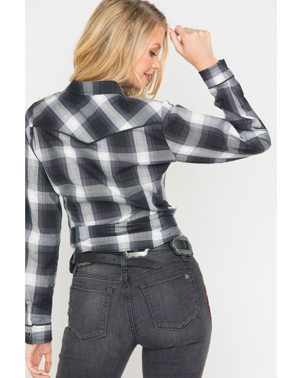 Roper Women's Plaid Embroidered Western Snap Shirt, Black, hi-res