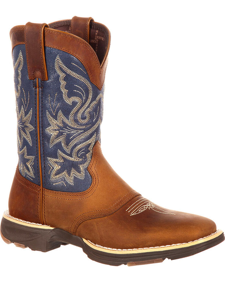 Durango Women's Ultra-Lite Western Work Boots, Brown/blue, hi-res