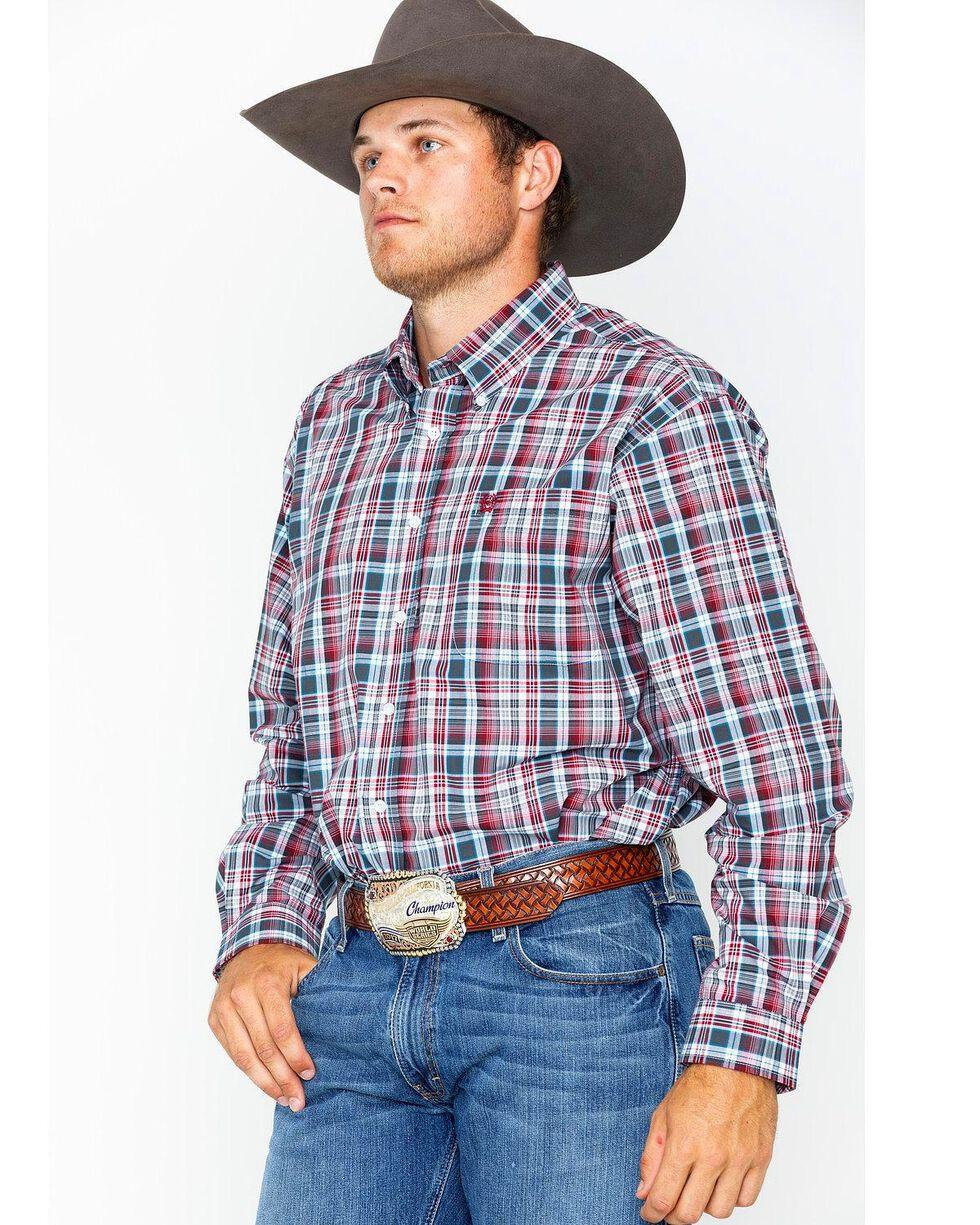 Cinch Men's Grey Plaid Long Sleeve Button Down Shirt, Grey, hi-res