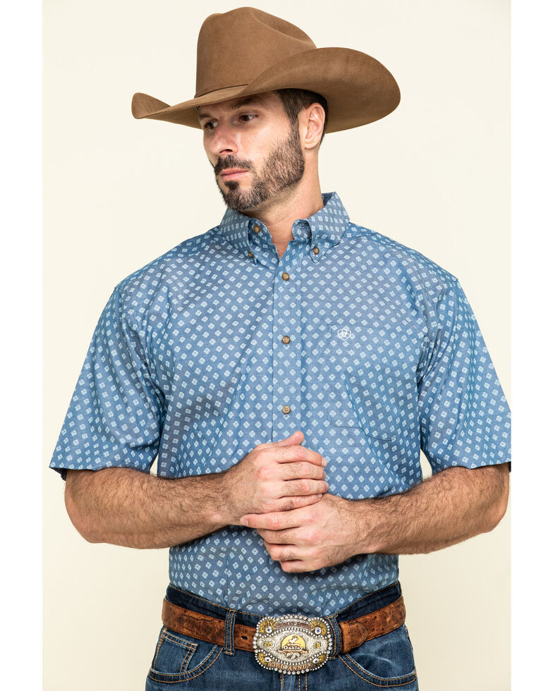 Ariat Men's Rossmoor Geo Print Short Sleeve Western Shirt - Tall , Multi, hi-res