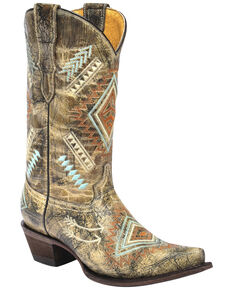 Corral Girls' Multicolored Diamond Embroidered Cowgirl Boots - Snip Toe, Multi, hi-res