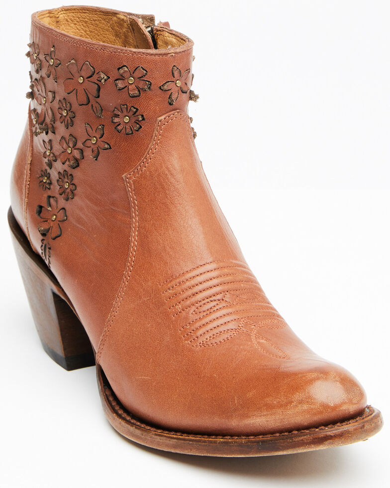 Shyanne Women's Lucy Fashion Booties - Round Toe, Cognac, hi-res