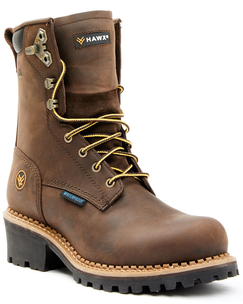 "Hawx Men's 8"" Waterproof Logger Boots - Soft Toe, Brown, hi-res"