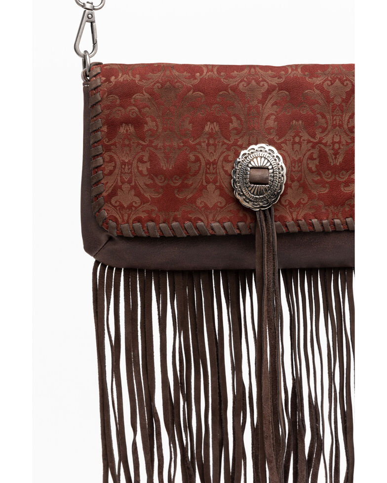 Shyanne Women's Laser Etched Baroque Fringe Crossbody Bag, Wine, hi-res