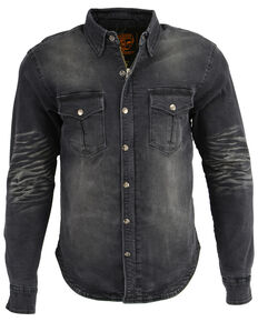 Milwaukee Performance Men's Black Denim Biker Shirt, Black, hi-res