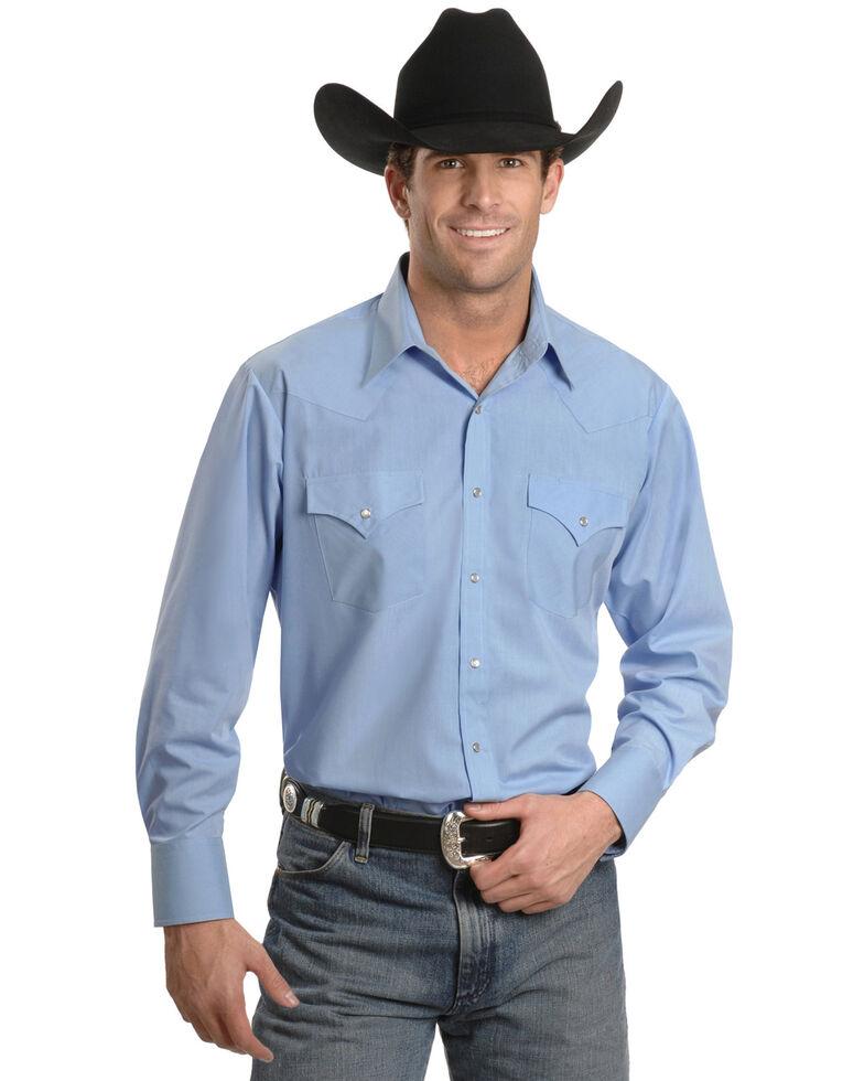 Ely Cattleman Men's Solid White Long Sleeve Western Shirt - Big & Tall , Light Blue, hi-res