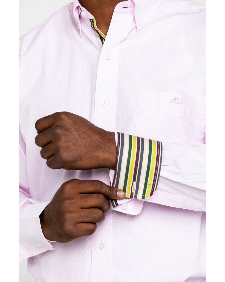 Resistol Men's Pink Casselberry Textured Solid Long Sleeve Western Shirt , Pink, hi-res