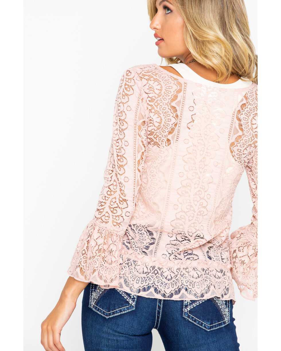 Shyanne Women's Lace Bell Sleeve Top , Blush, hi-res