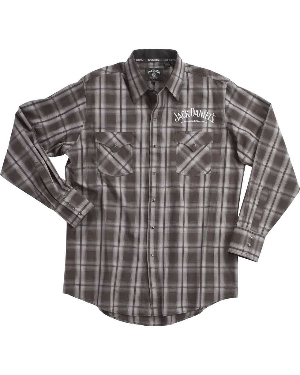 Jack Daniel's Men's Black Plaid Logo Embroidered Western Shirt , Black, hi-res