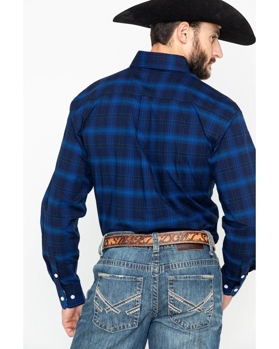 Rough Stock by Panhandle Men's Ellington Vintage Ombre Plaid Long Sleeve Western Shirt , Dark Blue, hi-res