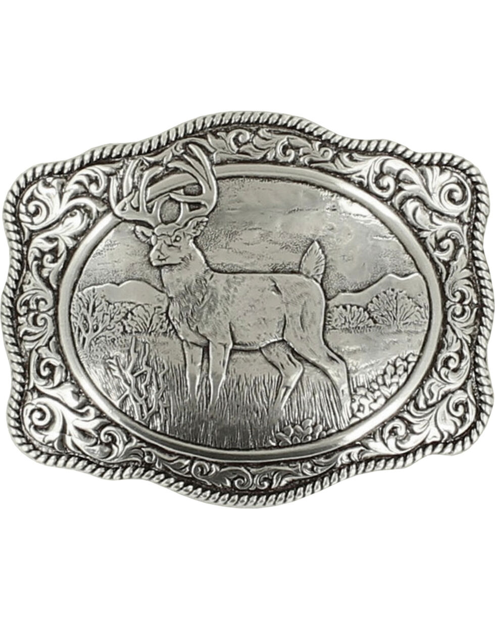 Crumrine White Tail Deer Buckle, Silver, hi-res