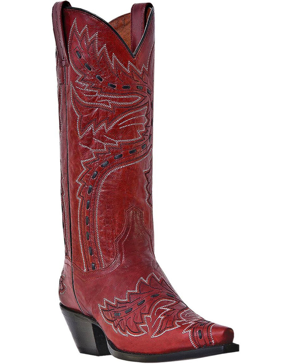 Womens Dan Post Sidewinder Snip Toe Cowboy Boots Red