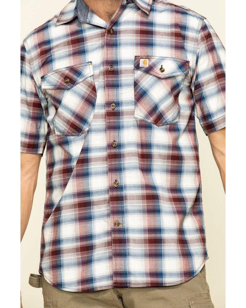 Carhartt Men's Red Rugged Flex Bozeman Plaid Short Sleeve Work Shirt - Big , Red, hi-res
