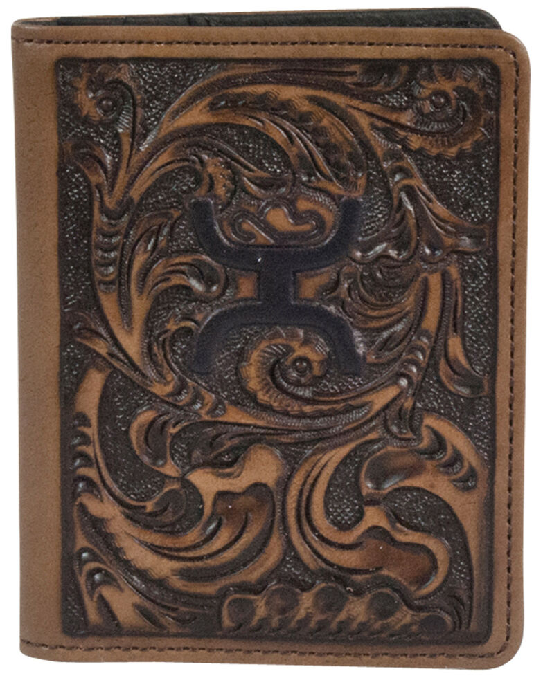 HOOey Men's Brown Tooled Money Clip, Brown, hi-res