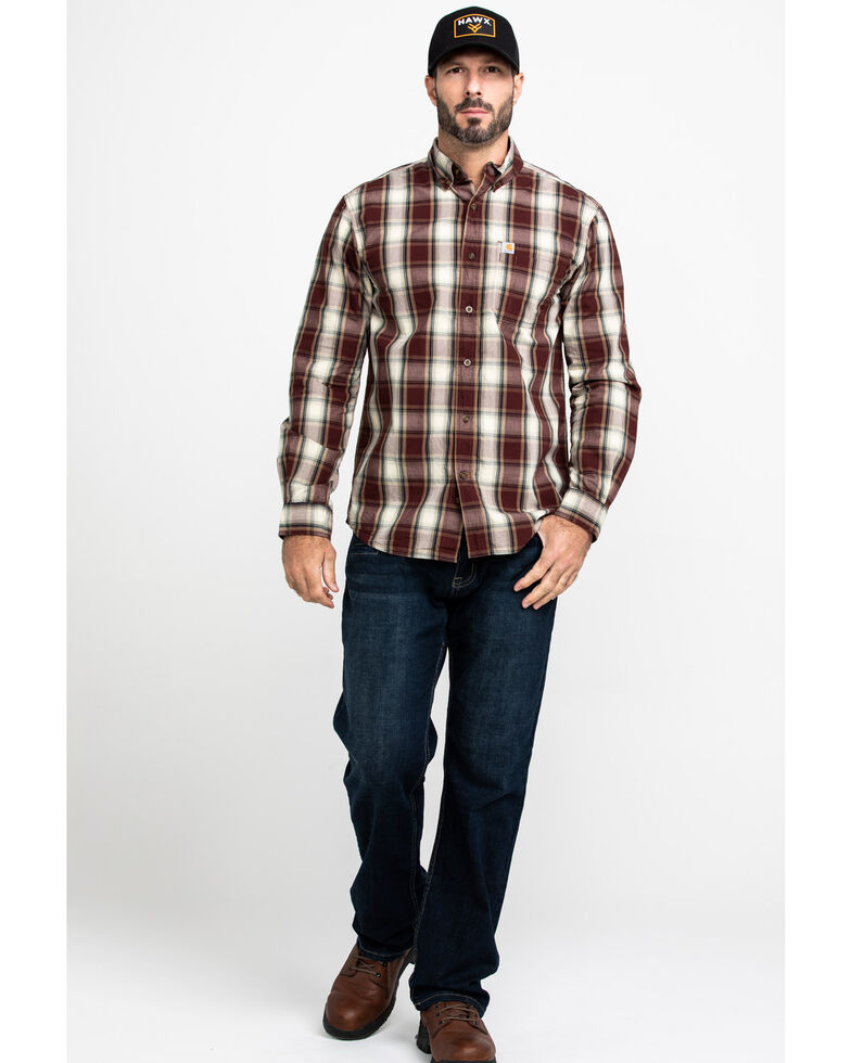 Carhartt Men's Essential Plaid Long Sleeve Work Shirt , Brown, hi-res