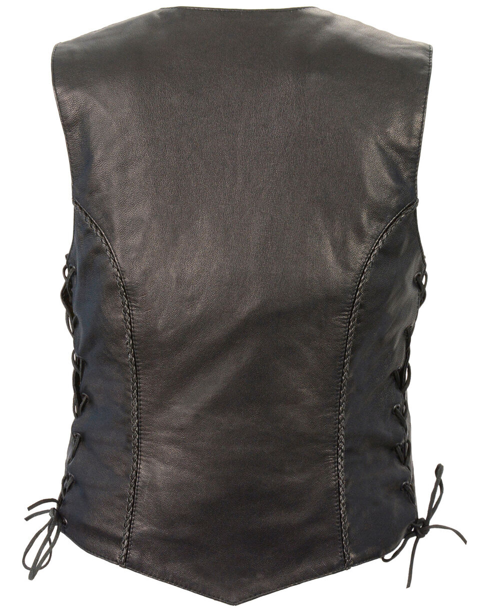 Milwaukee Leather Women's Braided Side Lace Lightweight Snap Front Vest - 5X, Black, hi-res