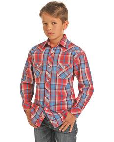 Rock & Roll Cowboy Boys' Plaid Snap Long Sleeve Western Shirt , Red, hi-res