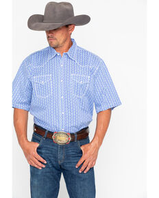 Wrangler 20X Men's Geo Print Advanced Comfort Short Sleeve Western Shirt , Blue, hi-res