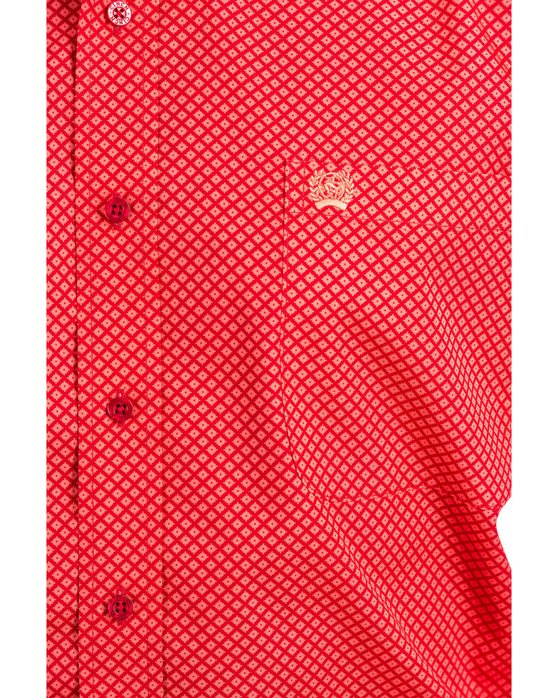 Cinch Men's Red Print Plain Weave Long Sleeve Western Shirt , Red, hi-res