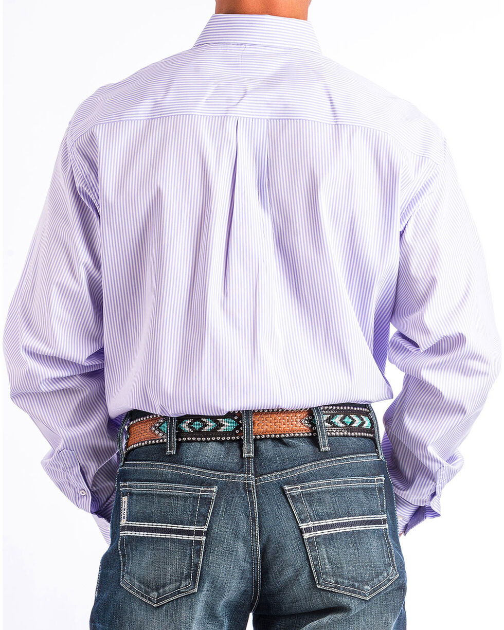 Cinch Men's Light Purple Stripe Long Sleeve Button Down Shirt, , hi-res