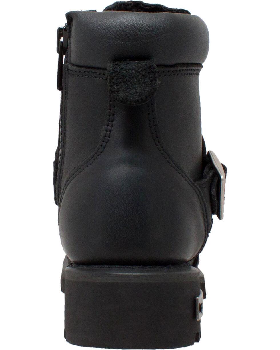 """Ad Tec Women's 6"""" Lace Zipper Biker Boots - Soft Toe, Black, hi-res"""