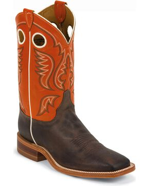 "Justin Men's 11"" Western Boots, Chocolate, hi-res"