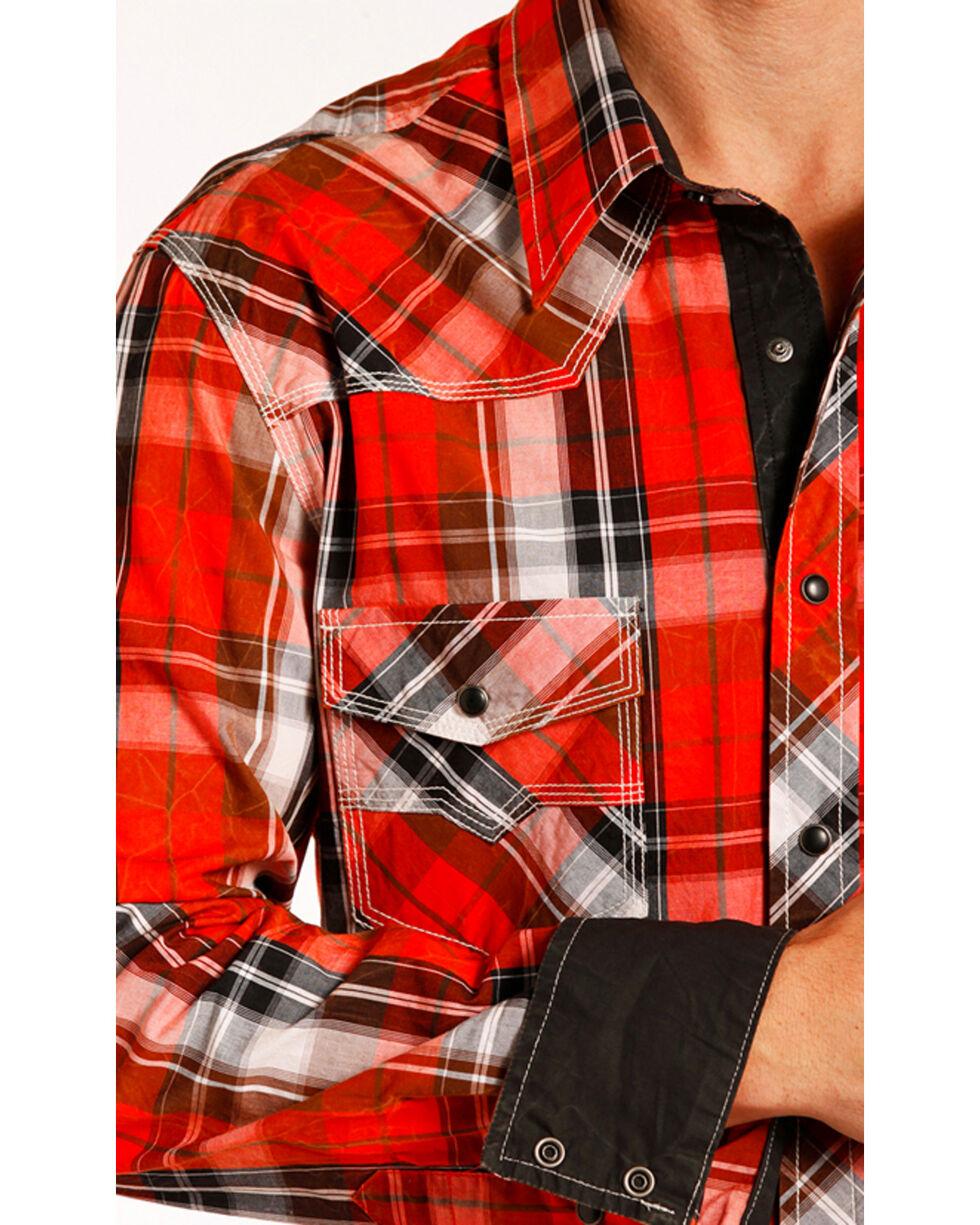 Rock & Roll Cowboy Men's Red Crinkle Washed Plaid Shirt , Red, hi-res