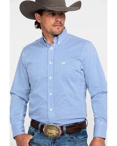 Wrangler 20X Men's Performance Royal Blue Geo Print Long Sleeve Western Shirt , Blue, hi-res
