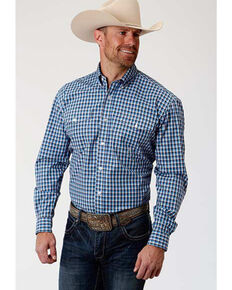 Amarillo Men's Americana Check Plaid Long Sleeve Western Shirt , Blue, hi-res