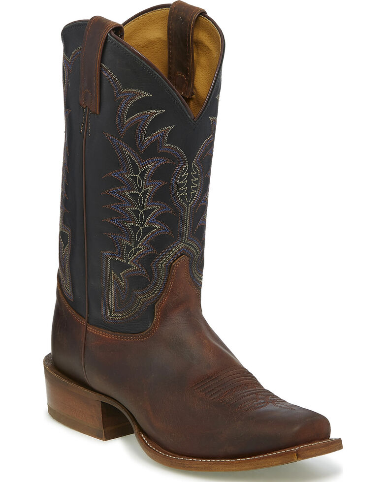Justin Men's Stitched Square Toe Western Boots, Brown, hi-res