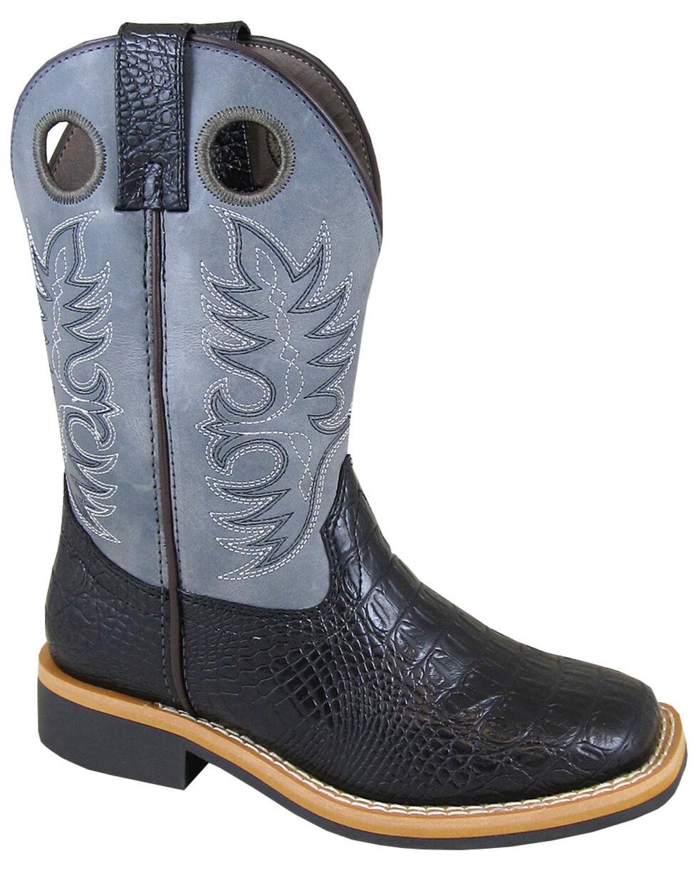 Smoky Mountain Boys' Black Faux Gator Western Boots - Square Toe, Black/blue, hi-res