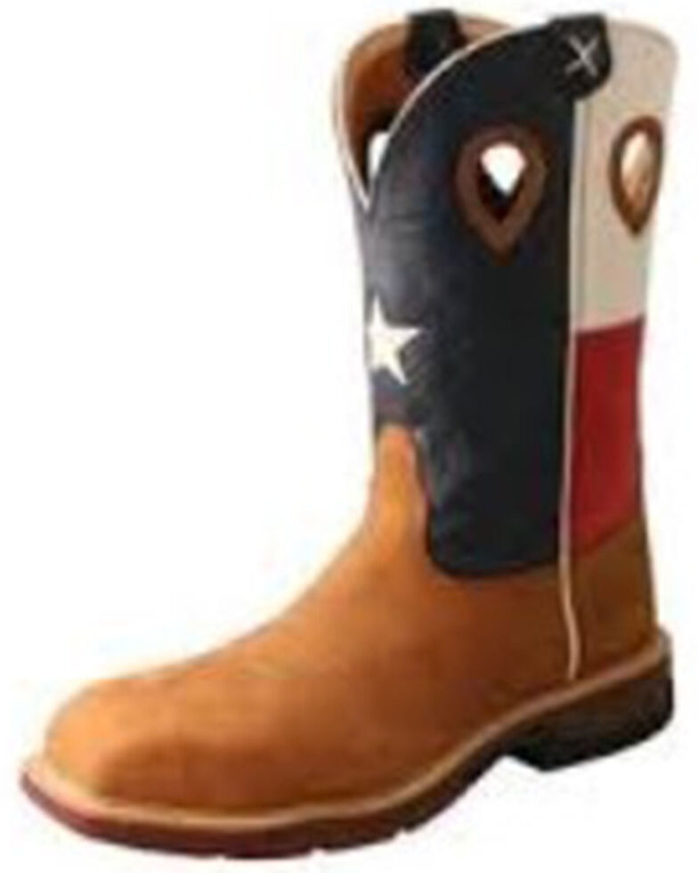 Twisted X Men's American Flag Western Work Boots - Nano Composite Toe, Lt Brown, hi-res