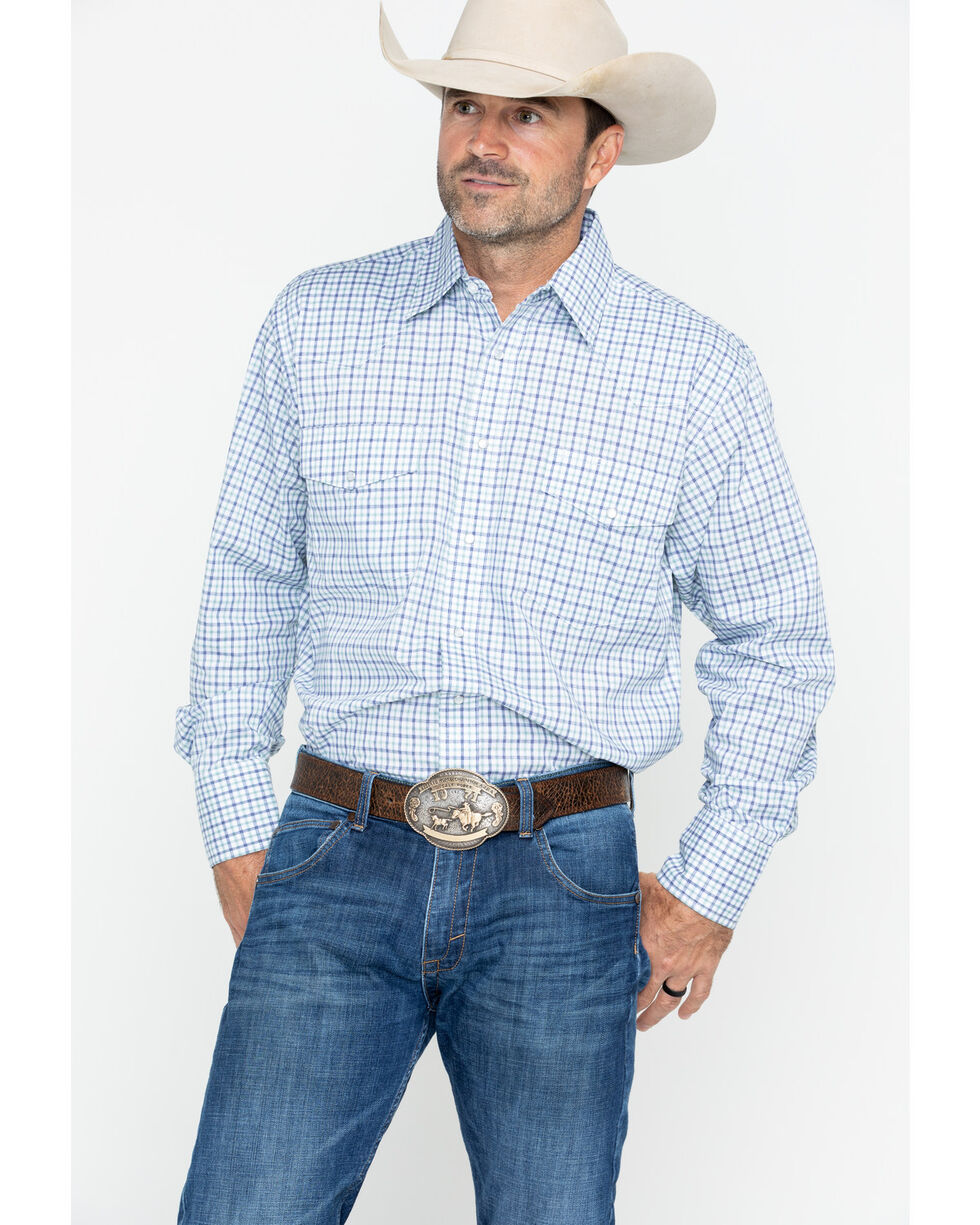 Wrangler Men's Wrinkle Resist Plaid Long Sleeve Shirt - Big & Tall , Blue, hi-res