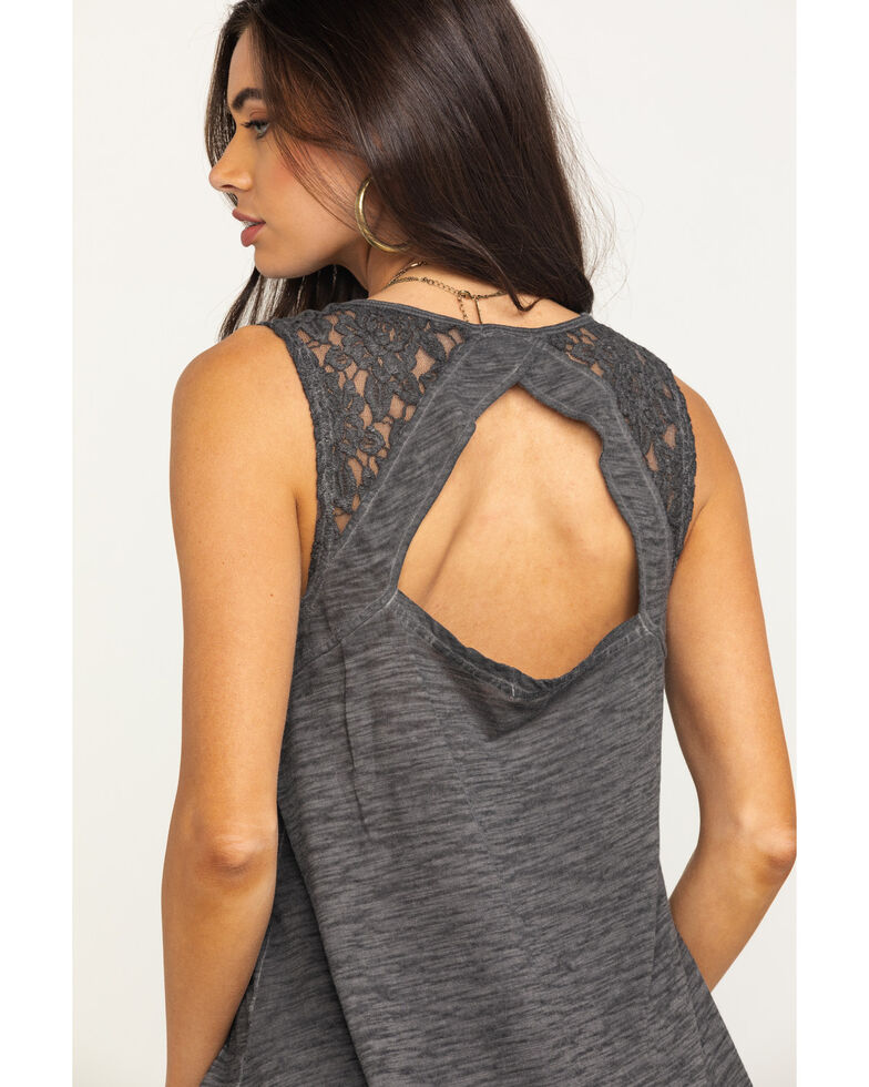 Ariat Women's Charcoal Lace Open Back Joan Tank Top, Charcoal, hi-res