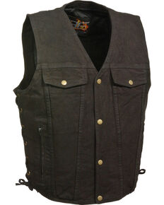 Milwaukee Leather Men's Side Lace Denim Vest w/ Chest Pockets - Big - 4X, Black, hi-res