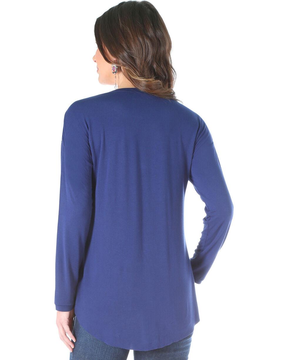 Wrangler Women's Long Sleeve Knit Henley, Navy, hi-res