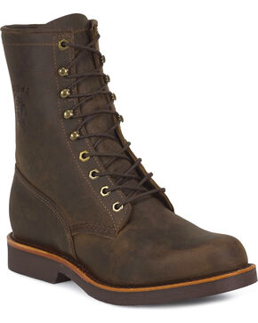 "Chippewa Men's 8"" Utility Work Boots, Chocolate, hi-res"
