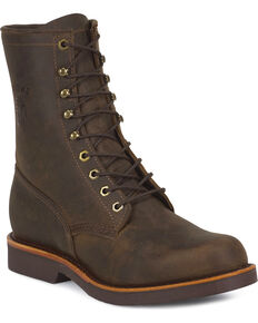 """Chippewa Men's 8"""" Utility Work Boots, Chocolate, hi-res"""