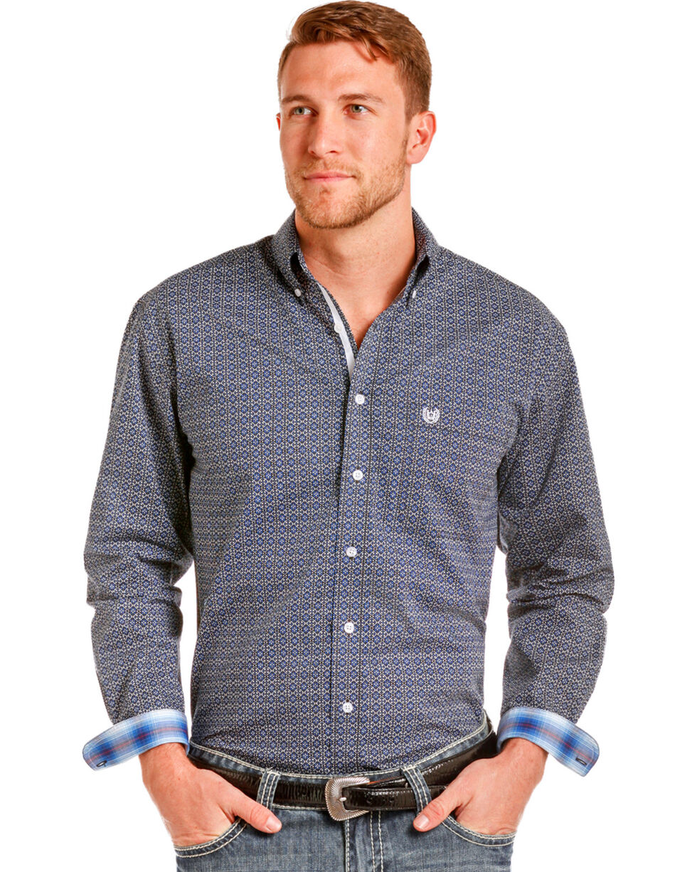 Panhandle Men's Barlow Vintage Print Long Sleeve Shirt, Blue, hi-res