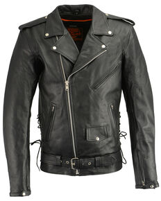 Milwaukee Leather Men's Classic Side Lace Concealed Carry Motorcycle Jacket - 4XTall, Black, hi-res